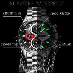 Image 3 - LIGE 패션 남자 시계 남성 크리 에이 티브 비즈니스 크로노 그래프 쿼츠 시계 스테인레스 스틸 방수 시계 남자 Relogio Masculino