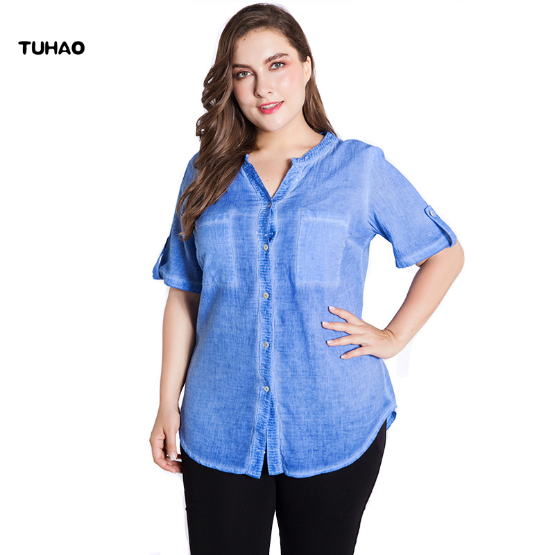 TUHAO Office Ladies Blouse Plus Size 6XL 5XL Tops Womens Tops and Blouse Shirt 2019 Summer Casual Hollow Out Sleeve Shirt ZPZ117
