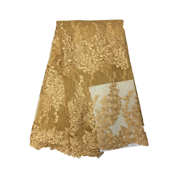 5yard new design french lace gold color embroidered tulle lace fabric french lace fabric.latest nigerian lace for dress