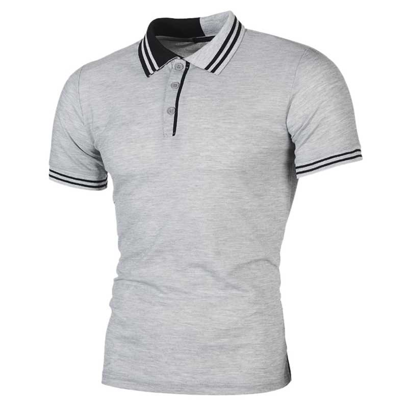 新しい男性ポロシャツ男性ビジネス & カジュアル Pactwork 男性ポロシャツグレー白半袖通気性シャツ男性プラスサイズ T7