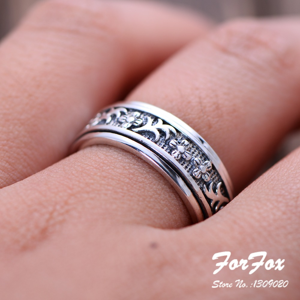 Rotatable Vintage 925 Sterling Silver Lucky Ring Engraving Flower ...