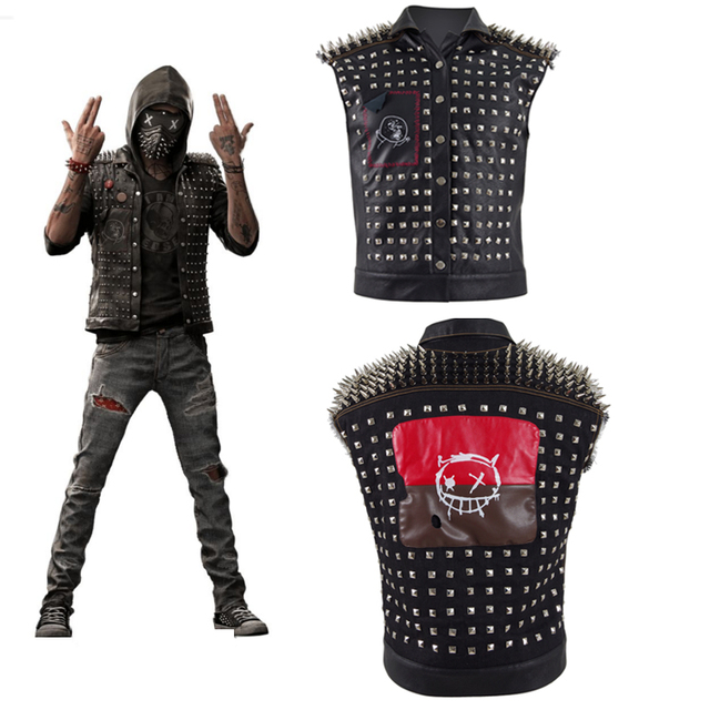 4661949f00 Watch Dogs 2 Wrench Vest Cosplay Costume Black Faux Leather Dedsec Rivet  Jacket With Free Badges Unisex Hallowenn Party Coat