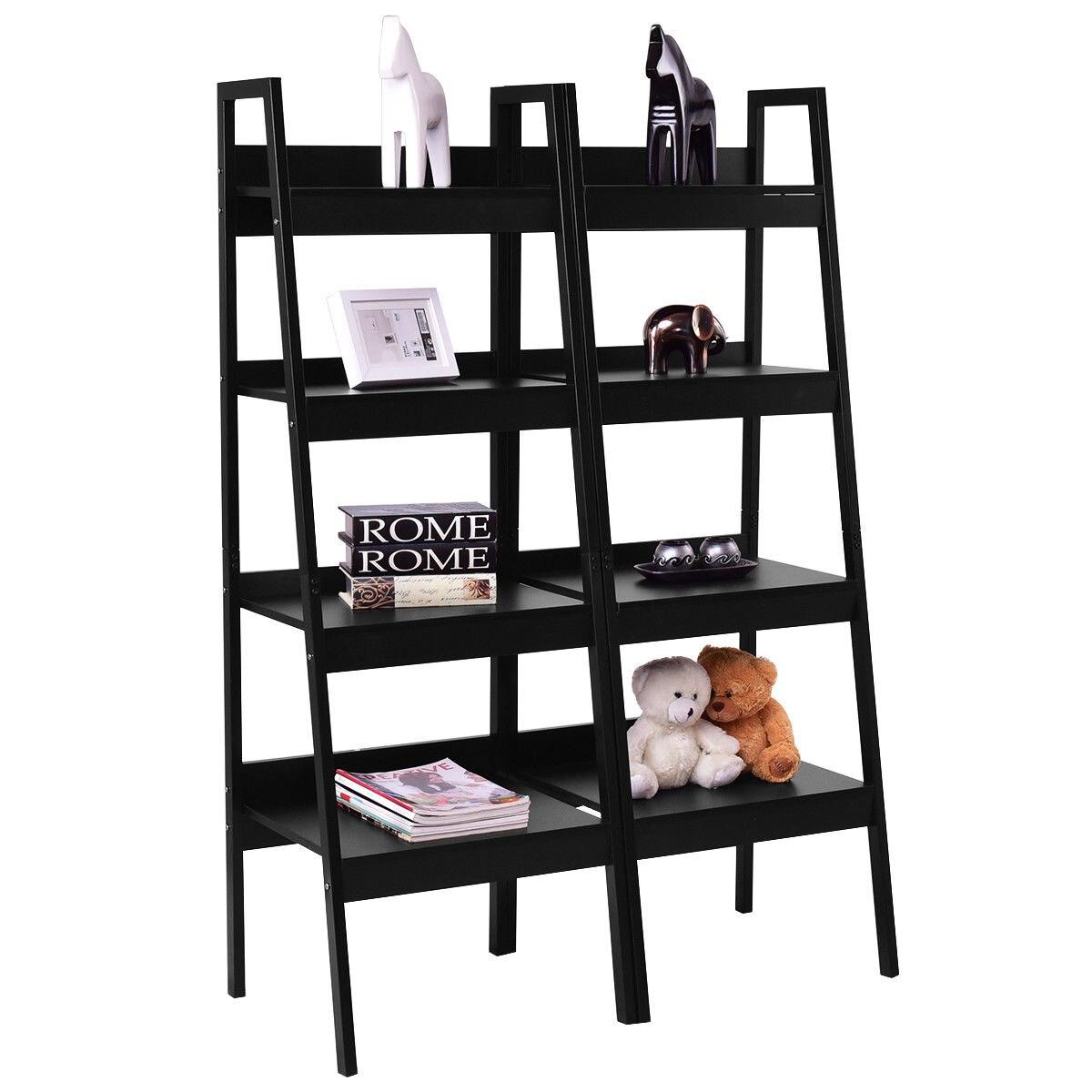 Giantex 2 Pcs 4 Tier Bookshelf Livnig Room Bundle Bookcase Ladder Stand Storage Shelves Home Furniture Modern Rack HW56007 цена