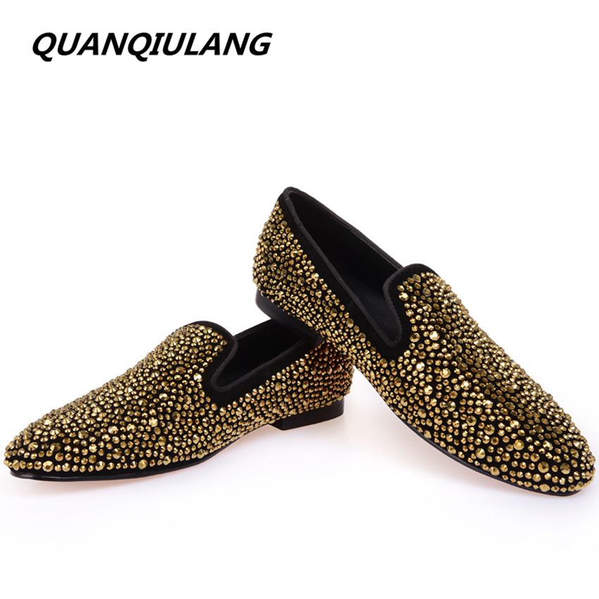 Brand Designer Man Golden Diamond Shoes 2016 New Genuine Leather Fashion Men's Flats Prom Male Loafers Size 39-47 Free Shipping 2016 new fashion embroidery genuine leather man shoes handmade wedding and party male loafers men flats size 39 47 free shipping
