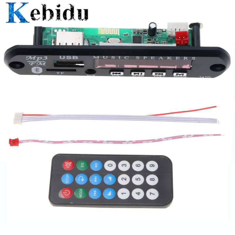 Kebidu MP3 WMA Scheda di Decodifica Audio Bluetooth Senza Fili del Modulo USB TF di FM Radio 5V 12V per Auto Costruire in Altoparlante Per Auto Lettore MP3