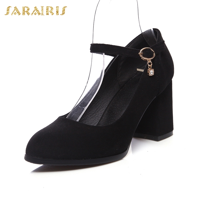 SARAIRIS new hot sale Flock Mature Fashion women' S Pumps Chunky Heels Elegant Fashion women's Shoes