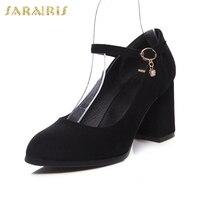 SARAIRIS new hot sale Flock Mature Fashion women' S Pumps Chunky Heels Elegant Fashion women's Shoes