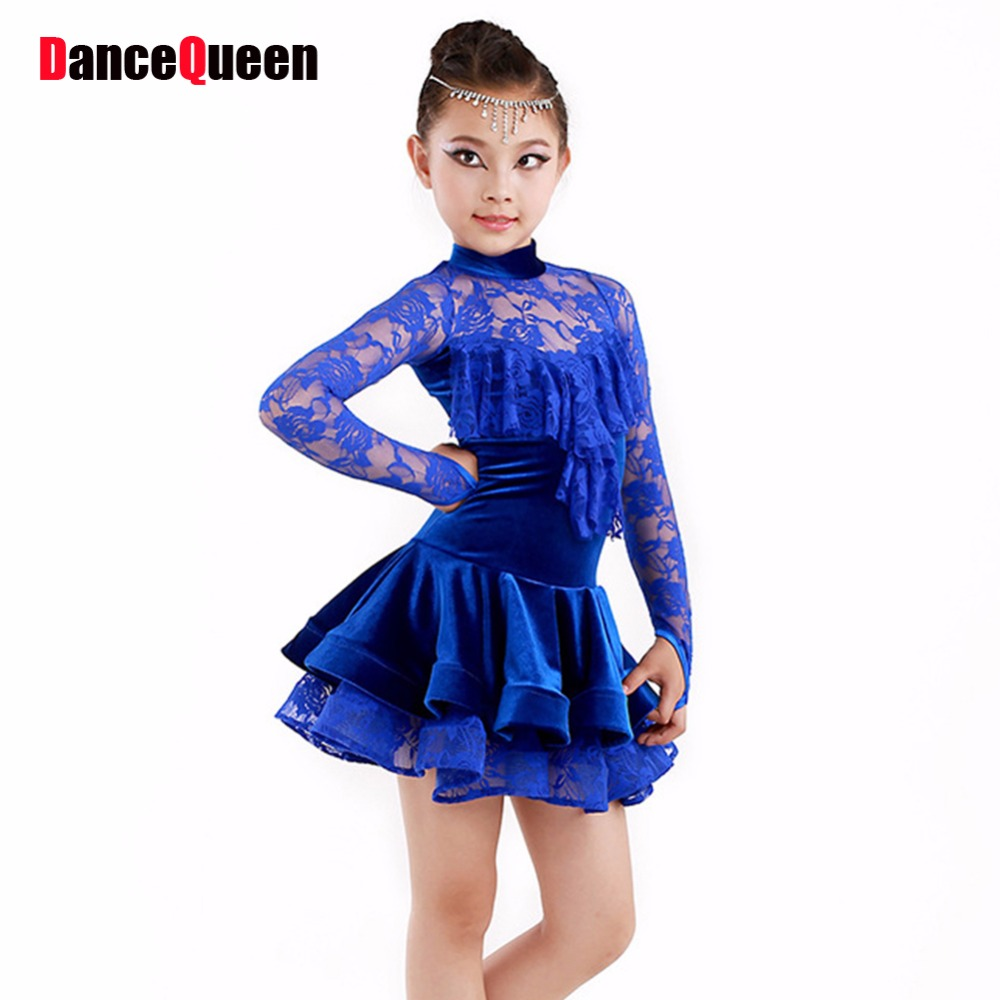 Latin Dance Dress For Girls Lace Top&Skirt Dance Wear Vestido De Baile Latino Kids Dance Costumes Practice/Competition Dresses