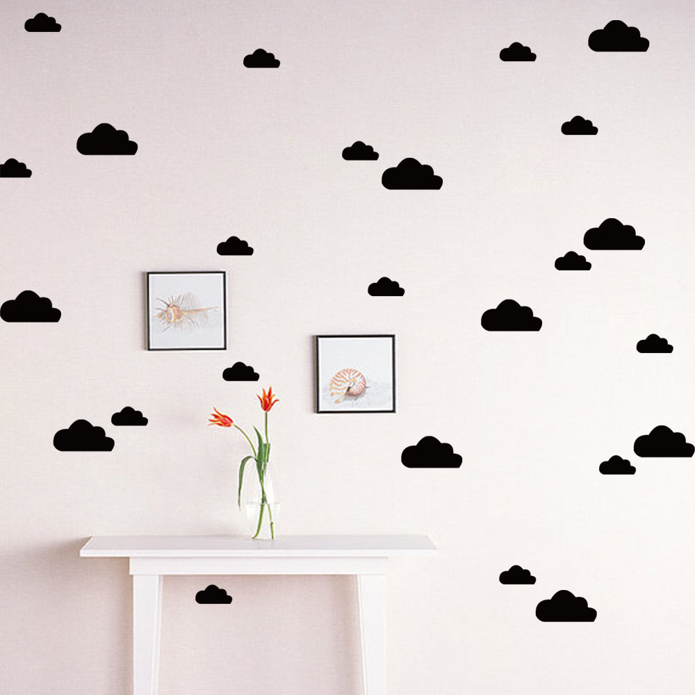 Odorless Eco-friendly Vinyl S L 2 Sizes Multi-colour Clouds Pattern Cute Cartoon Baby Childrens Room Decoration Wall Stickers ...