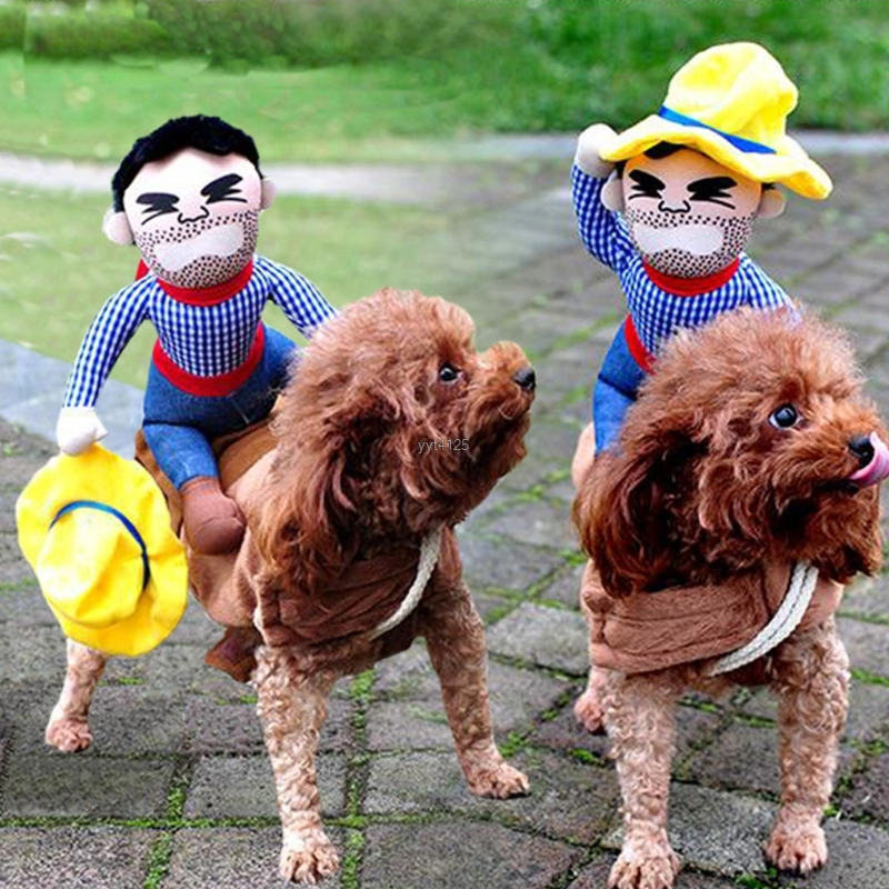 2018 New Funny Riding Horse Cowboy Pet Dog Costumes Puppy Halloween Party Costume Clothes for Dog Cats Supplies Mar