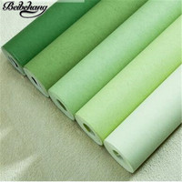 beibehang Green non wovens wallpaper bedroom pure color plain simple modern living room warm Korean style home wallpaper