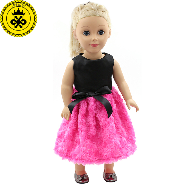 18 inch Girl Doll Clothes Accessories Black Shirt Rose Red Dress for 18  inch Doll Dress Girls Best Birthday Gift MG123 c6ac860b20f6
