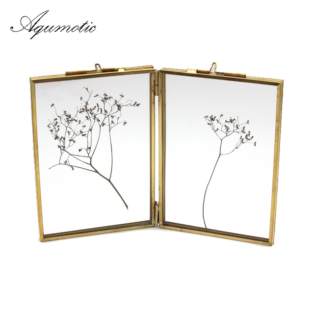 Aqumotic Black Both Sides Picture Frames Gold Key Chain Square Photo