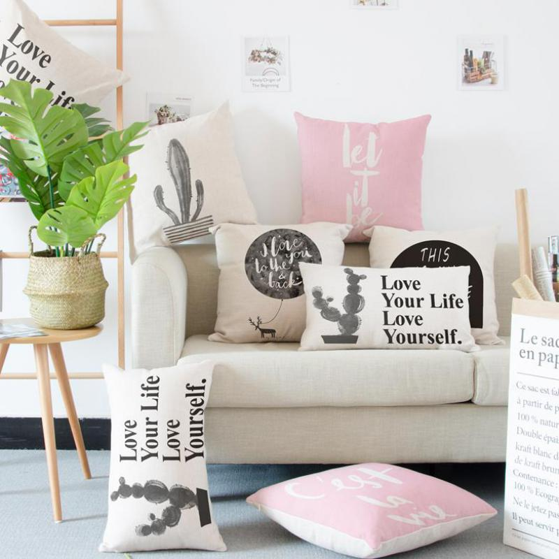 Nordic Style Decoration Black And White Cushion English Text Cactus Pot Christmas Deer Pillow Watercolor Ink For Home Chair