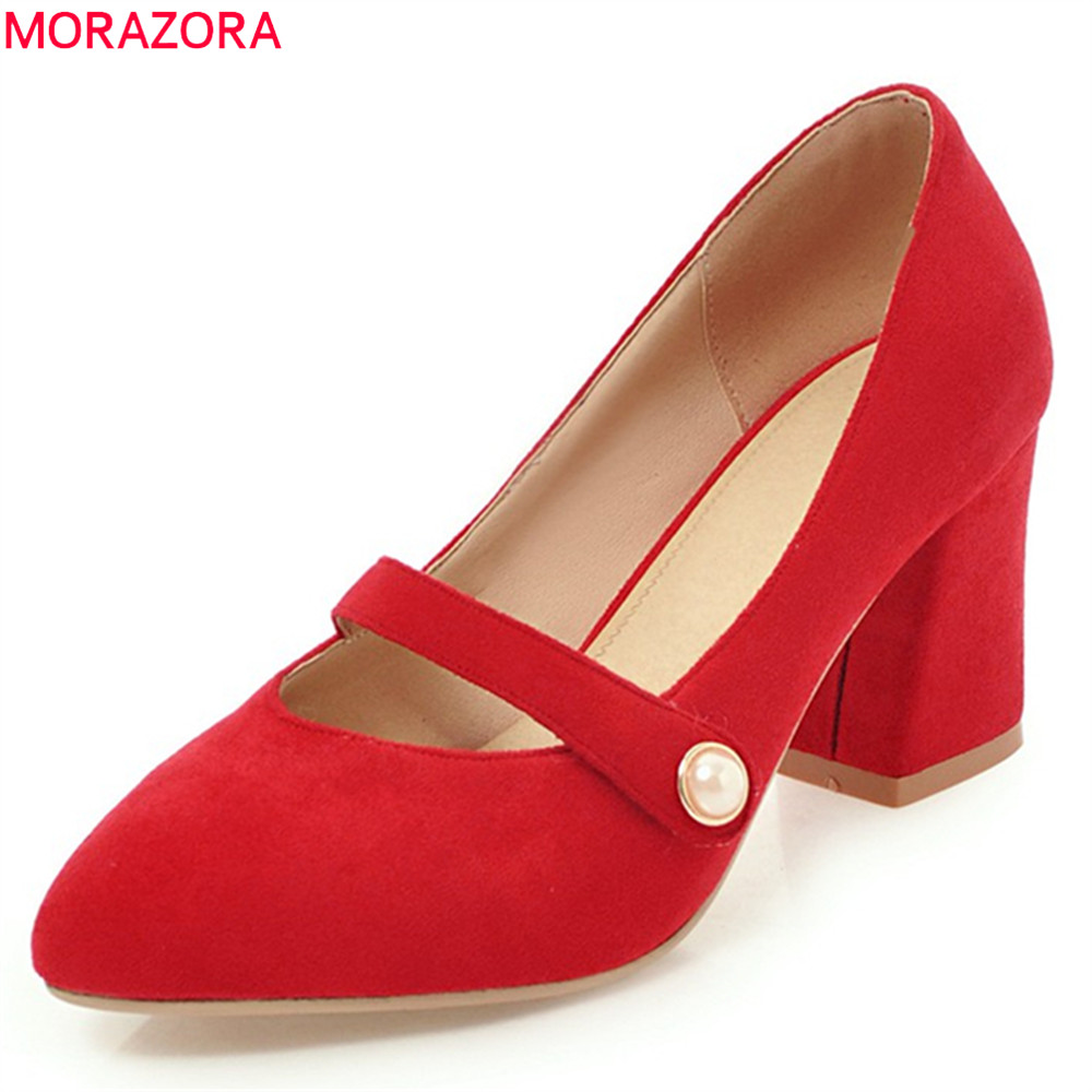 MORAZORA 2018 new arrive pumps women shoes high heels pointed toe shallow slip on square heel flock mature female shoes high quality women shoes colorful rhinestone shallow mouth high heels mature women pumps round toe slip on party wedding shoes