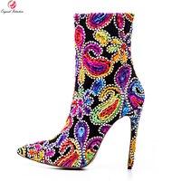 القصد الأصلي رائع النساء الكاحل أشار تو رقيقة عالية حذاء امرأة كعب حذاء أحمر أزرق الأرجواني زائد لنا حجم 3-10.5