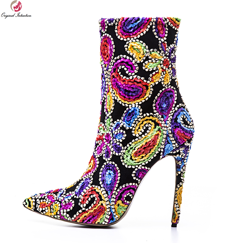 Original Intention Gorgeous Women Ankle Boots Pointed Toe Thin High Heel Boots Fashion Red Blue Shoes