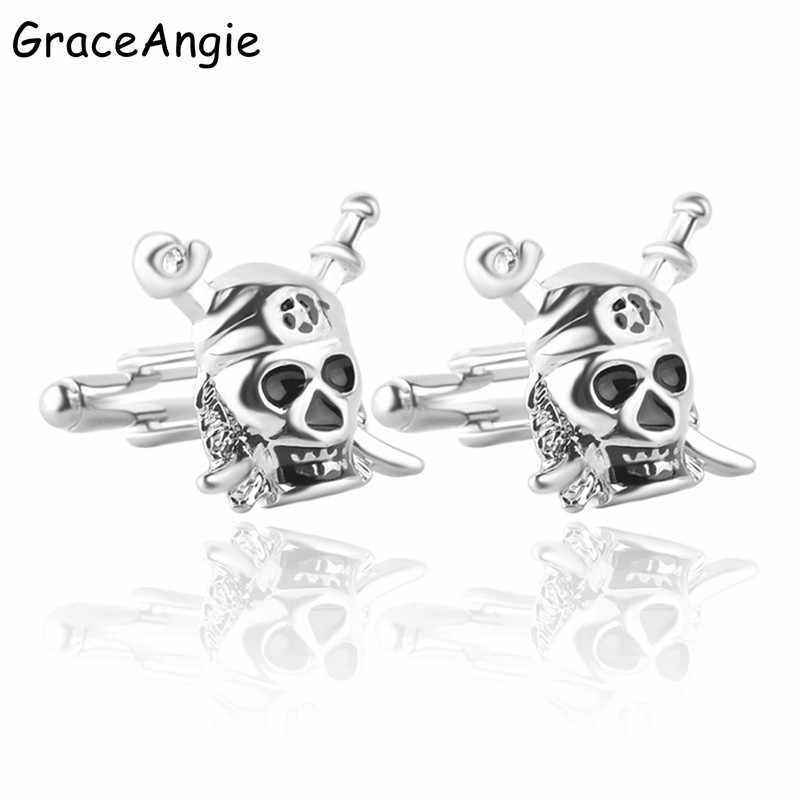GraceAngie Man Franch Cufflinks Shirts Pirate skeleton Nail Button Male Jewelry Gift Business Lawyer Wedding Cufflinks Ties Cuff