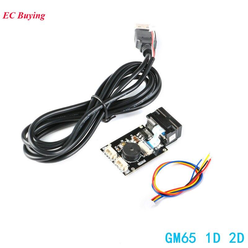 Placa de Leitura de código de Barras 1D 2D Scanner de Código QR GM65 URAT Módulo Leitor USB Kit Eletrônico DIY com Cabo Conector CMOS