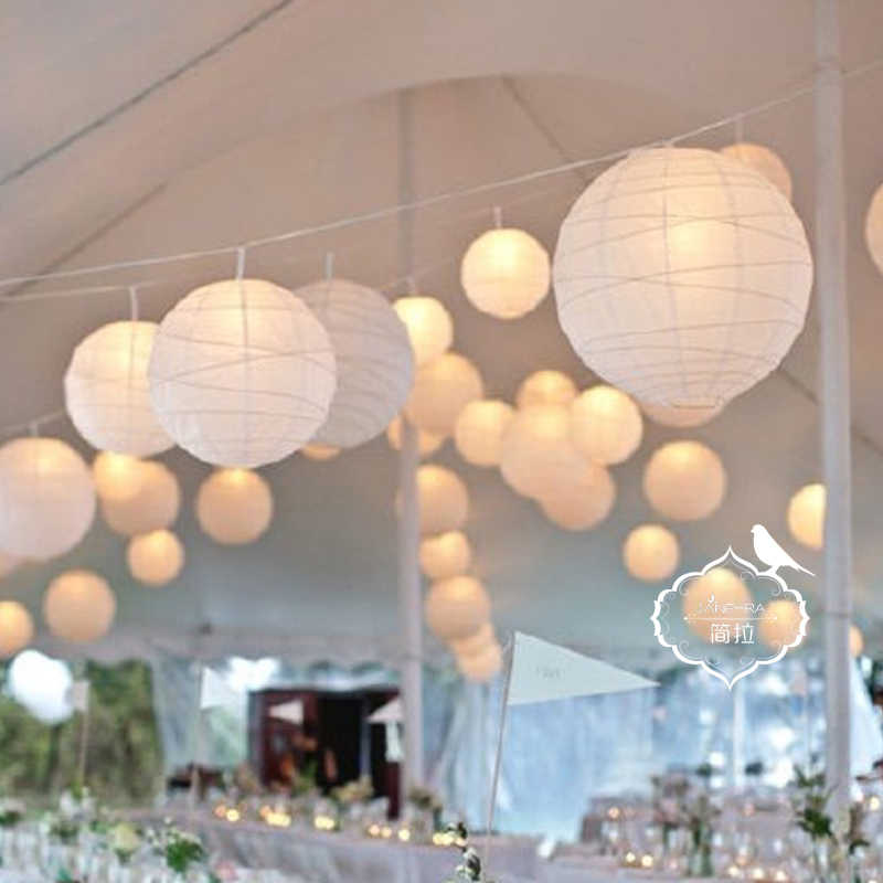 Round Chinese Paper Lanterns 10-15-20-25-30-35-40cm for Wedding Birthday Party Decoration Christmas Halloween Festival Supplies