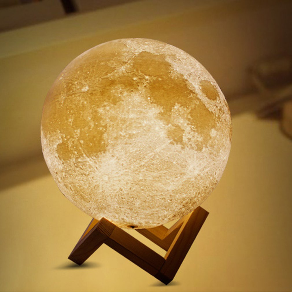 3D Light Print Jupiter Lamp Earth Lamp Christmas DecorationTwocolor Moon Lamp Rechargeable Change Touch Usb Led Night Light image