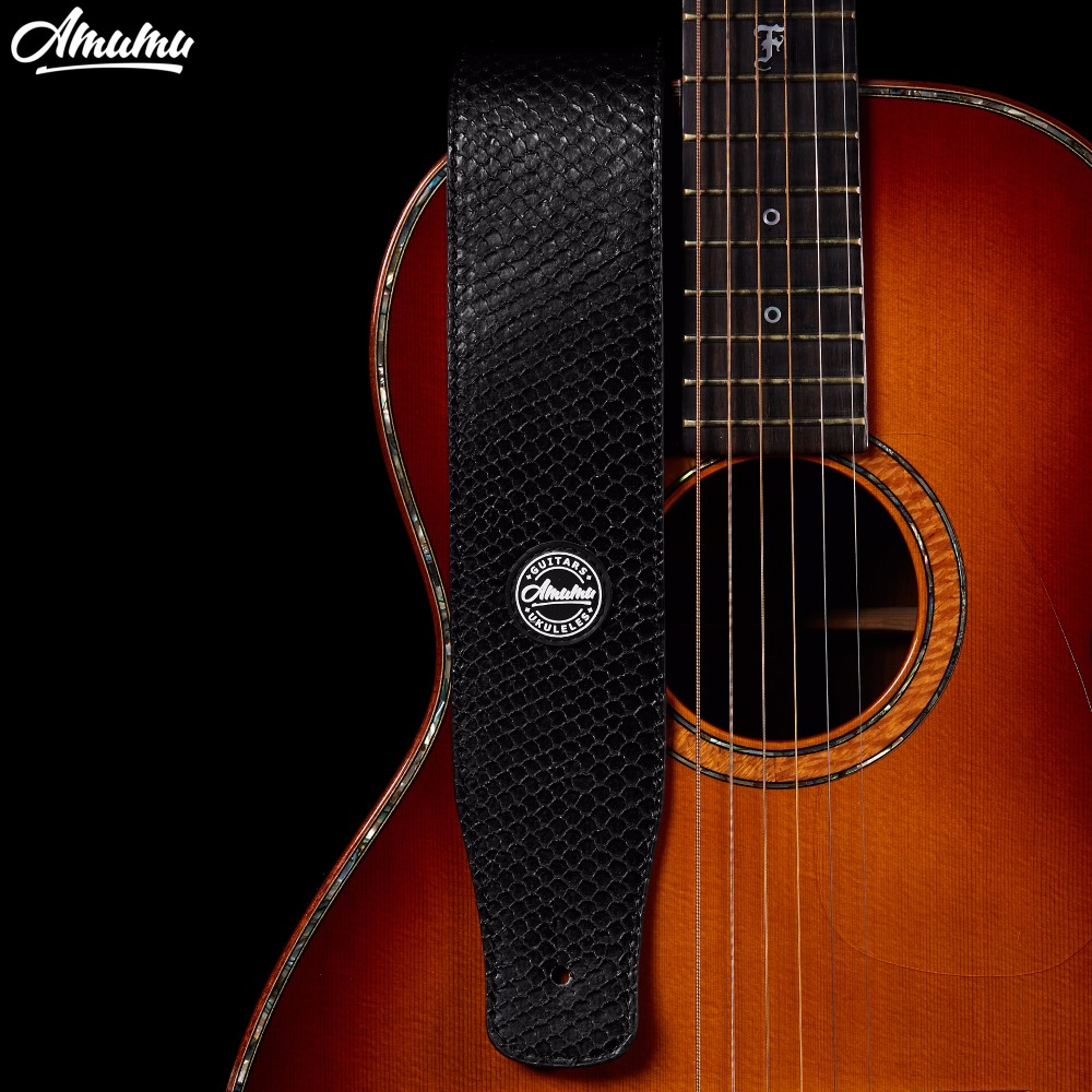 Amumu Black PU leather Guitar Strap for Electric Guitar Bass Snakeskin brand Guitar Belt  S568-A amumu traditional weaving patterns cotton guitar strap for classical acoustic folk guitar guitar belt s113