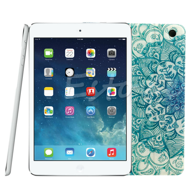 OOTDTY 2017 Fashion Protective Holster Green Flower Floral Pattern Flip Stand Leather Case Cover Holster For Apple iPad Mini 123 top quality hot selling fashion design anchors pattern flip stand leather case cover for ipad mini 2 retina jul 12