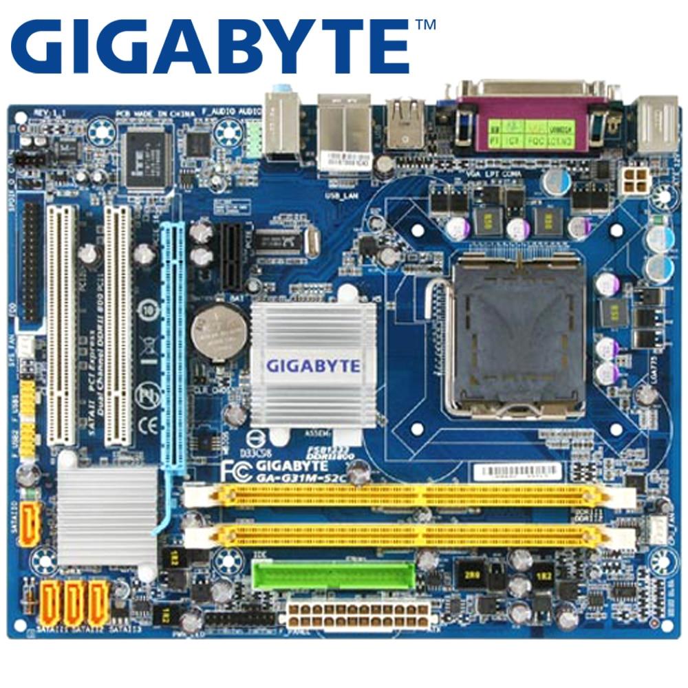 GIGABYTE Desktop Mainboard Core G31-Socket Lga 775 Micro Atx GA-G31M-S2C 2-Ddr2 Used