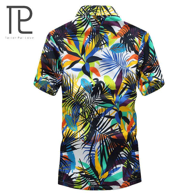 Tailor pal love 2019 여름 하와이 셔츠 남성 캐주얼 반소매 망 비치 셔츠 꽃 인쇄