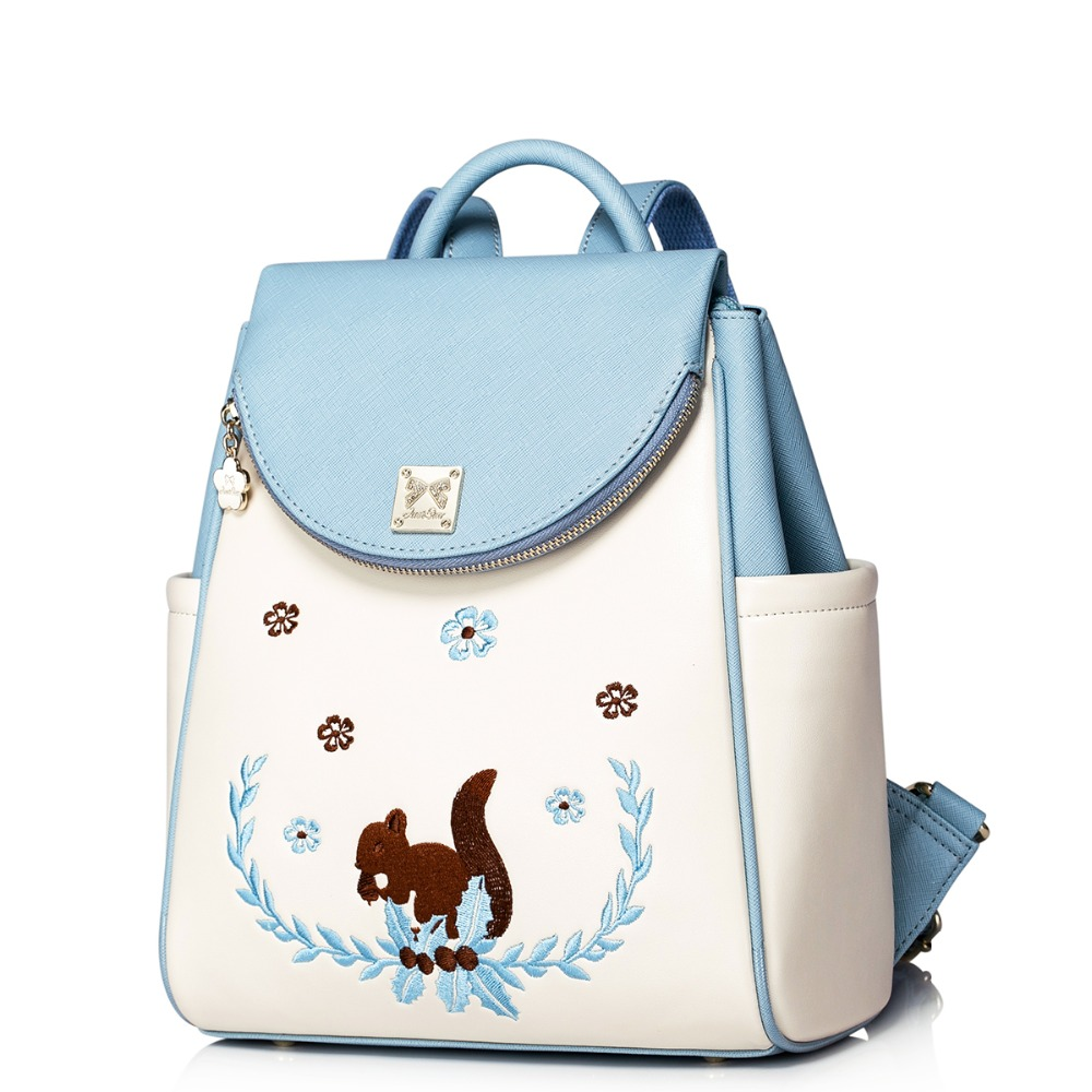 Women 2016 new casual style embroidered sky blue leather backpack fashion travel daypack girls school book