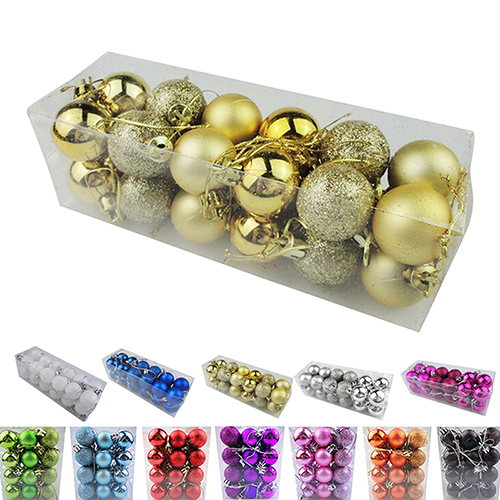 24pcs/lot Christmas Tree Decor Ball Bauble Hanging Xmas Party Ornament decorations for Home Christmas decorations 30cm