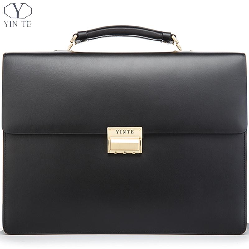 Aliexpress.com  Buy YINTE Leather Menu0026#39;s Business Briefcase High Quality Working Bag Formal Men ...