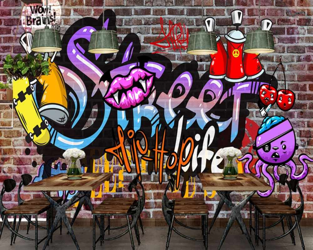 Free Shipping Europe And The United States Trend Graffiti Ktv Bar Background Wall Hip Hop Dance Studio Custom 3d Photo Wallpaper Aliexpress