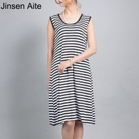 XXXXL Plus Size Women Striped Contrast Color Dress Fat Women Sleeveless Summer Long Dresses Large Big