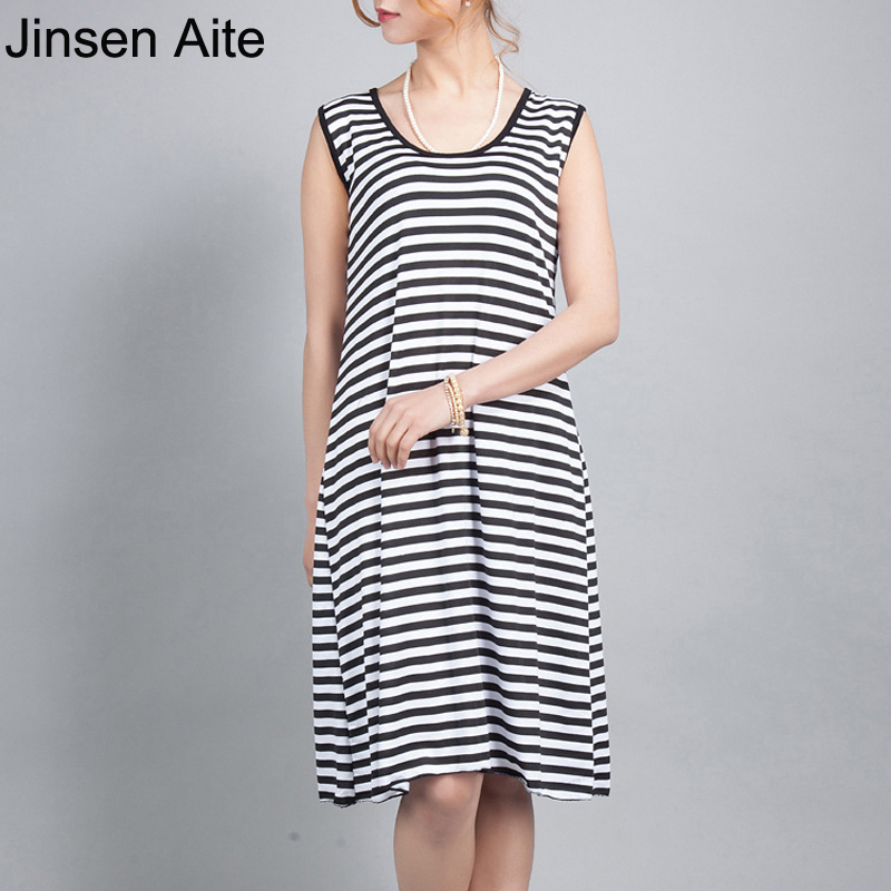 Jinsen Aite New 7XL Plus Size Women Striped Dress Lady Casual - Women's Clothing