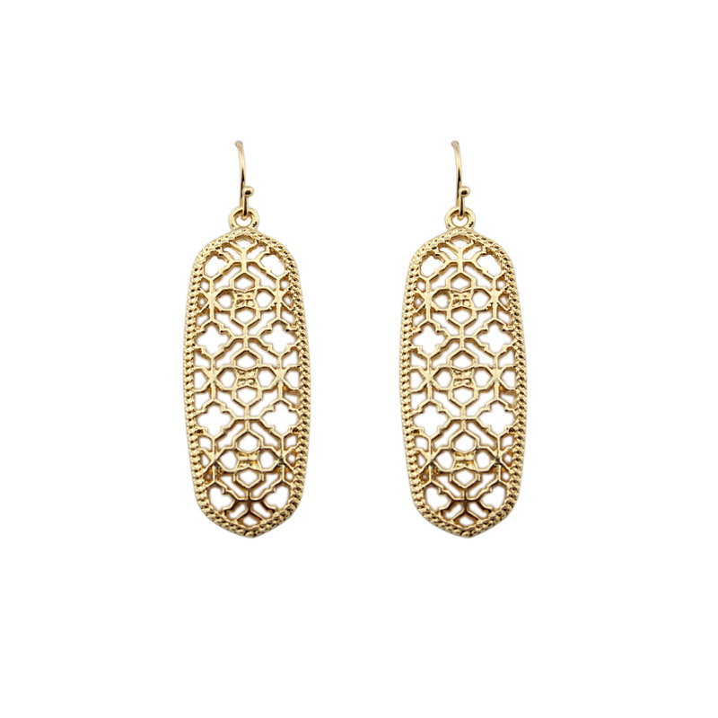 GET IT GIRL Gold Filigree Cutout Clover Earrings for Women Brand Rectangle Hollow Earrings Jewelry
