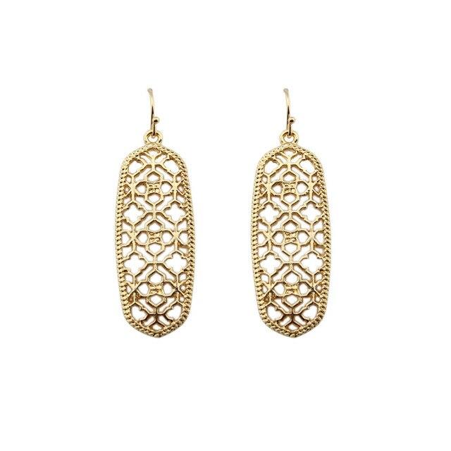 GET IT GIRL Gold Filigree Cutout Clover Earrings for Women Brand Rectangle Hollo