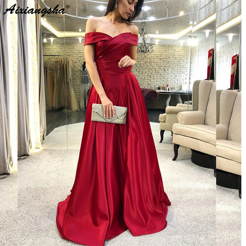 Burgundy 2019 Satin Elegant Long   Prom     Dresses   Off The Shoulder Boat Neck A Line Cheap Women Occasion G Vestido De Festa