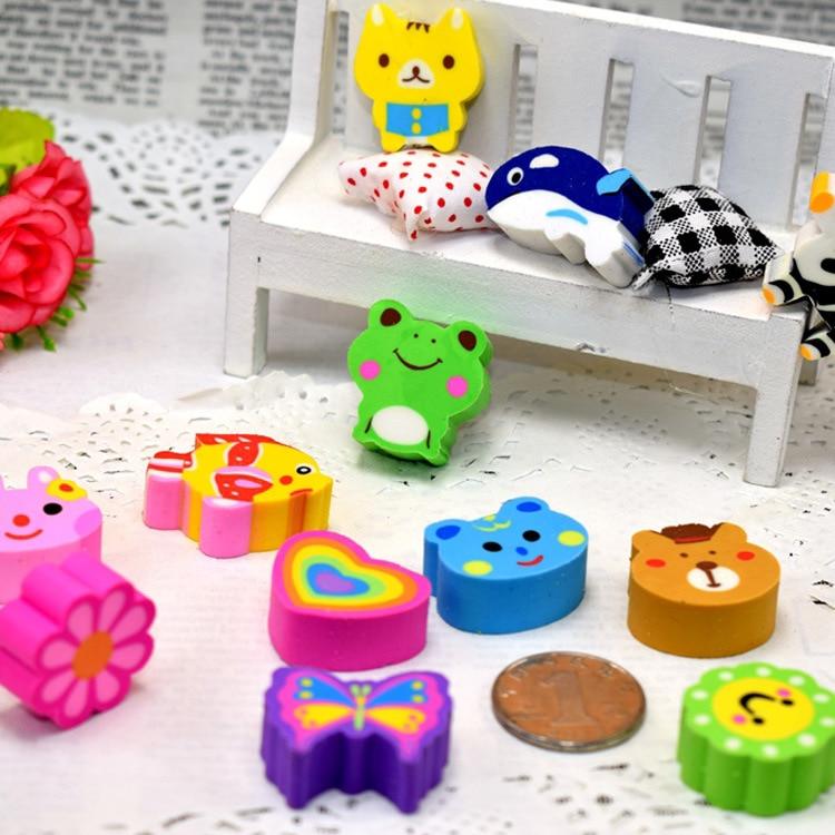 5pcs Kawaii Mini Animals Shaped Pencil Erasers Cute Novelty Pen Rubber For Kids Gift School Stationery Ccolor Random