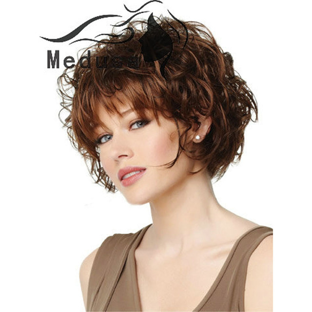 Medusa Hair Products Natural Curly Styles Short Bob Wigs With Bangs Synthetic Brown Wig