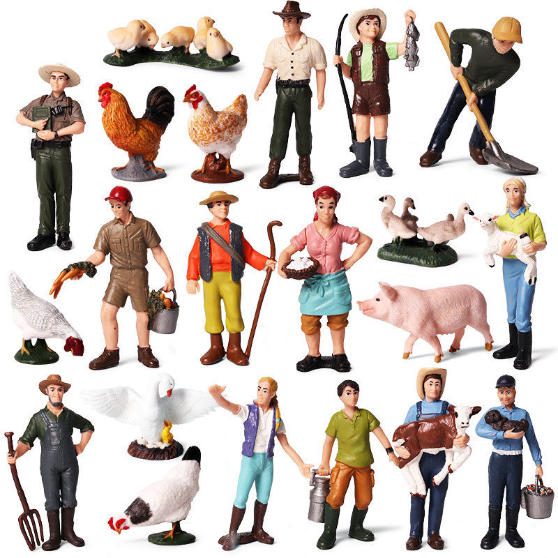 Farm Staff Worker Farmer Action Figure PVC People Model Figurine Decor Decoration Accessories Modern Toys For Children Kids Gift
