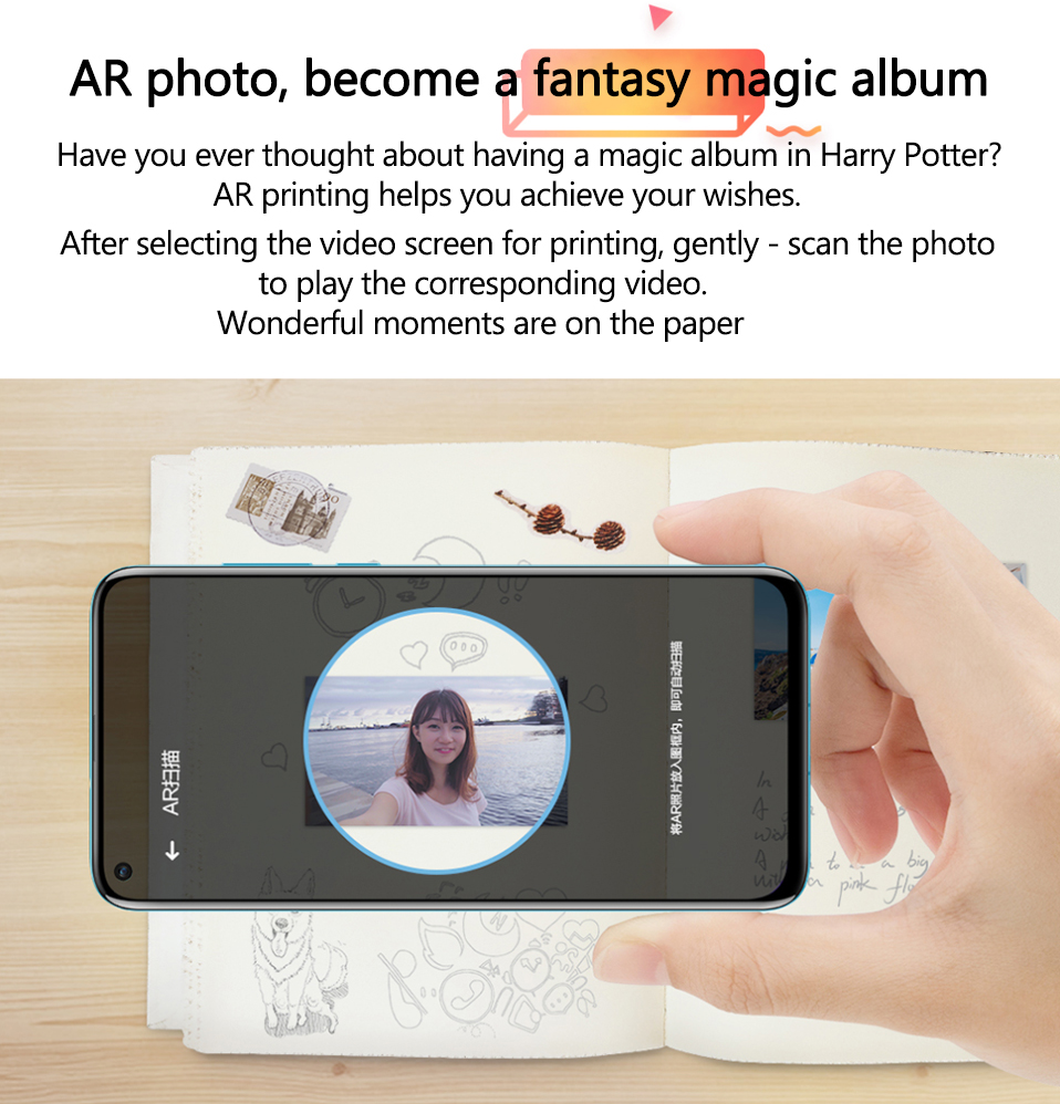 AR Printer 300dpi Original Huawei Zink Portable Photo Printer Honor Mini Pocket Printer Bluetooth 4.1 Support DIY Share 500mAh (6)