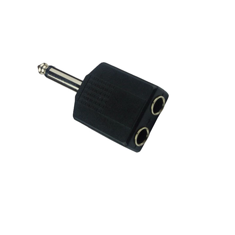 LOT of 4 3.5mm Mono Male Adapter to 2-way 3.5mm Mono Female Headphone Splitter