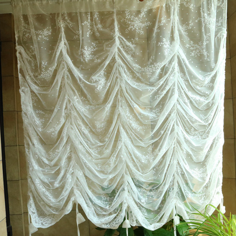 European White Embroidery Window Curtain Kitchen Sheer