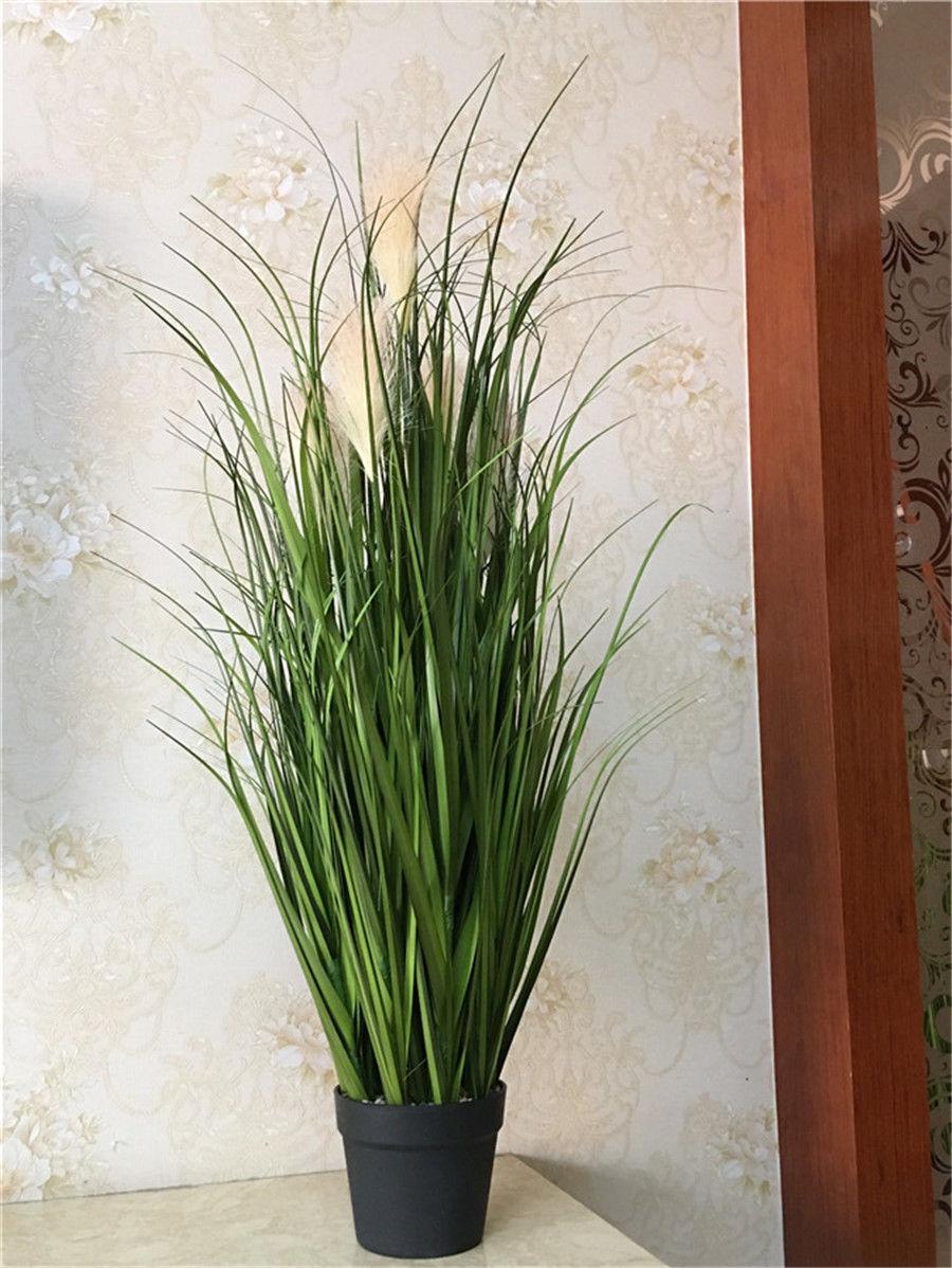 Оптом и в розницу 4 шт. ПВХ искусственный Пластик зеленая трава Декор комнатные растения патио 100 см Бесплатная доставка