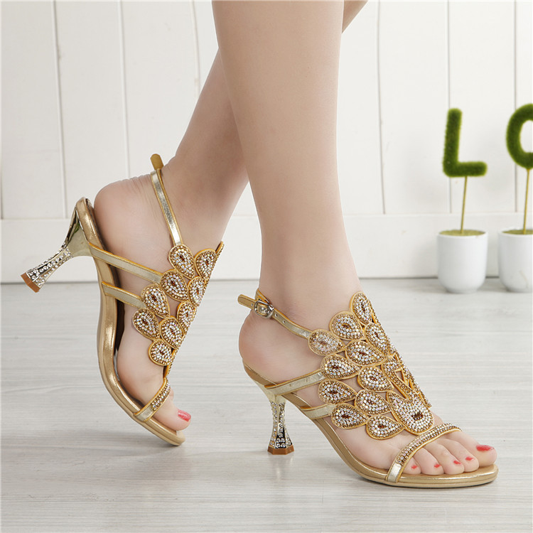50055c44b ... G-sparrow 2018 Summer New Style Women Golden Rhinestone Sequins High  Heels Wedding Sandals Princess ...