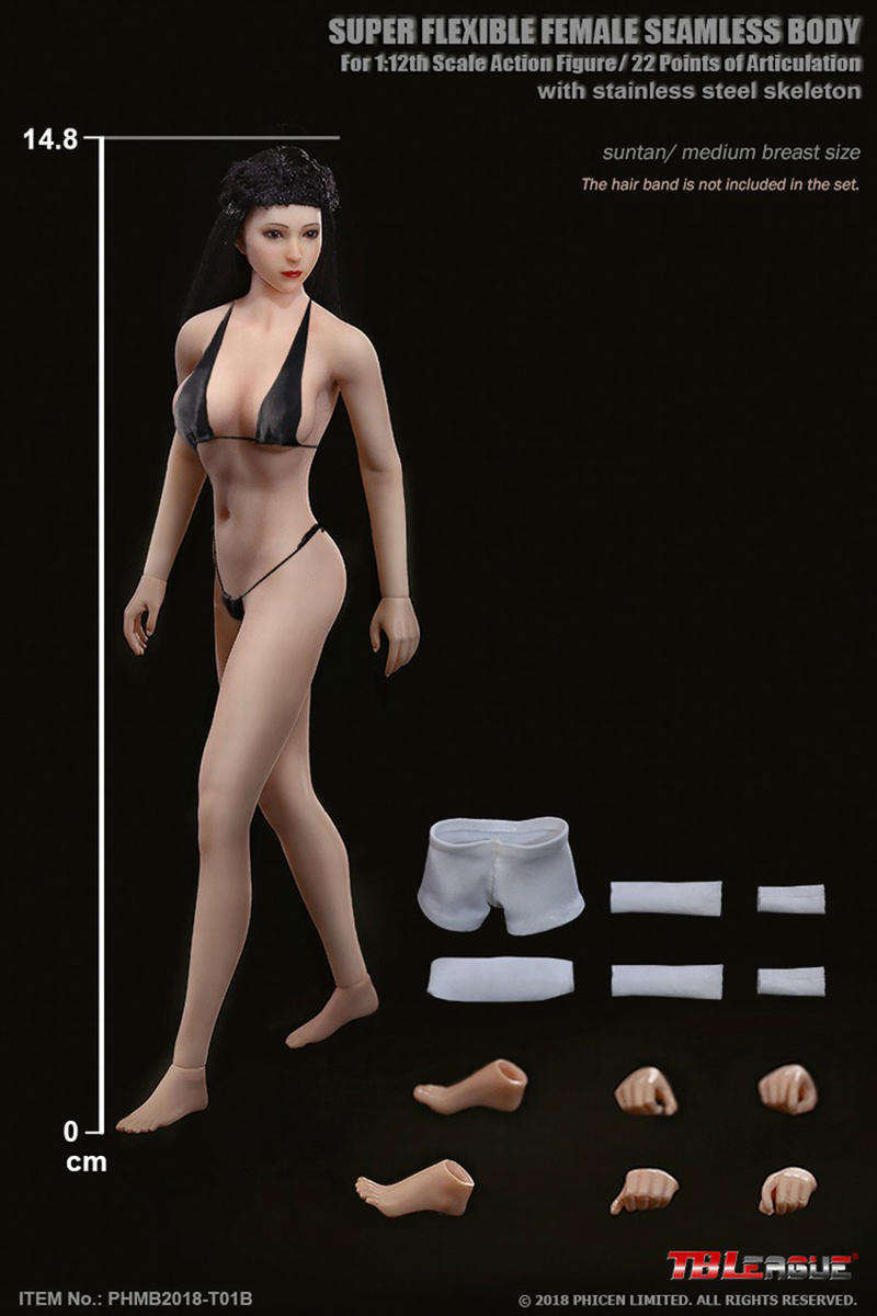 SEXY TBLeague PHMB2018 T01A B 1 12th Super Flexible Female Suntan Pale Skin Seamless Body with Head Whole Set Head Body in Action Toy Figures from Toys Hobbies