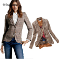 Fashion New Autumn Women Plaid Elbow Patches Two Button Slim Fit Blazer Lady Suits Basic Jacket Casual Blazer Feminino