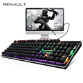 RENAULT 104 / 87 Keys Mechanical Keyboard Blue Switch Rainbow Backlit Gaming Keyboard for PC Game LED Backlight Teclado Gamer