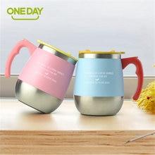 450 ML 304 Edelstahl Einfache Milch Tee Becher Mit Griff Anti-Kaffee Tasse Wasser Flasche Für Zuhause büro Geschenke